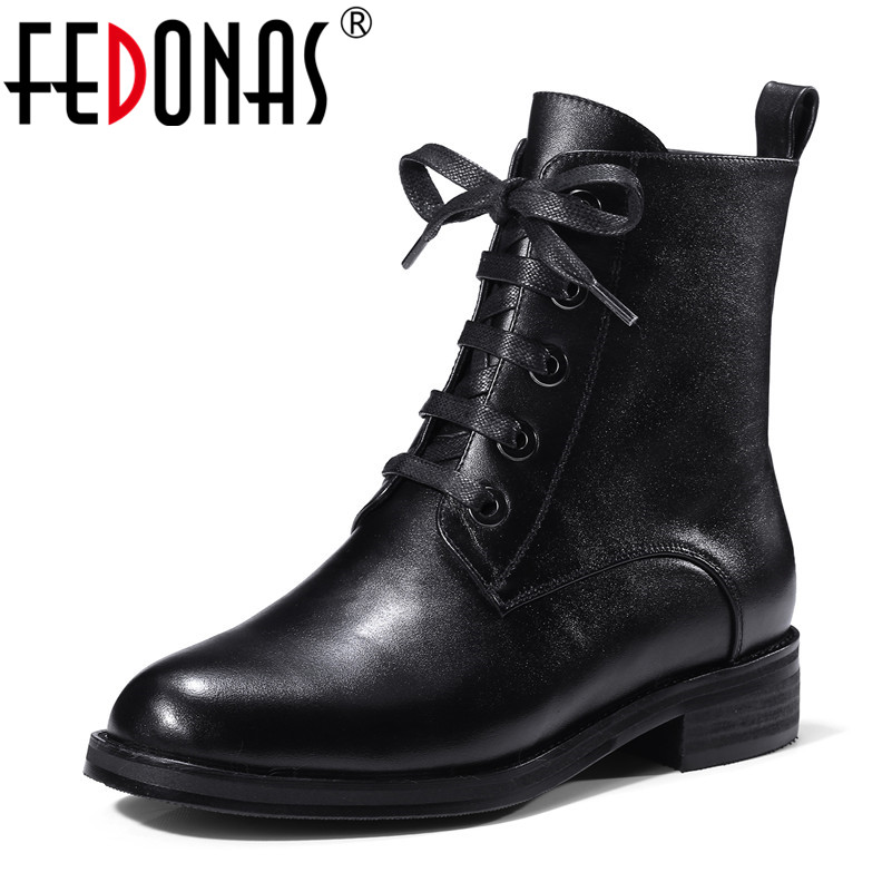 FEDONAS Fashion Women Genuine Leather Ankle Boots Square Toe Autumn Winter Short Martin Shoes Woman Female New Motorcycle Boots цена
