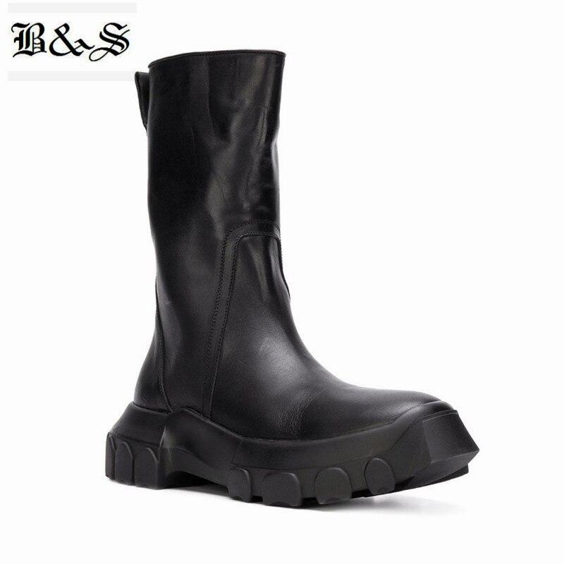 Черные и уличные мужские зимние 2018 натуральная кожа высокие военные молнии Ботинки martin ручной работы новый стиль мотоботы