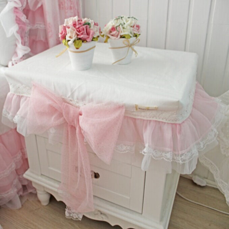 Romantic pink lace bow tablecloth wedding decoration for Bedside decoration