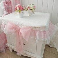 Julliette Dream Romantic Pink Lace Bow Tablecloth Wedding Decoration Bedside Table Cover Cabinet Dustproof Towel Textile