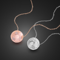 Football Necklace 100%925 Sterling Silver Rose Gold Small Ball Pendant Chain Fashion Woman Silver Chocker Jewelry Gift Wholesale