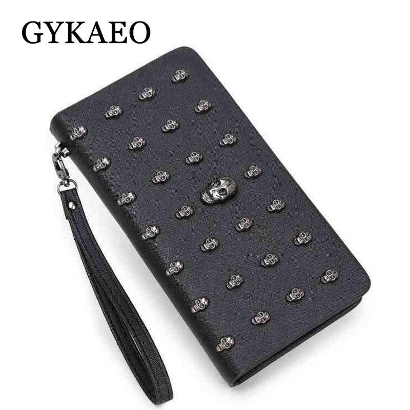GYKAEO Hot Fashion Women's Purse Zipper Skull Women's Wallet Ladies Leather Wallets Female Purse Card Case Cheap Womens Wallets