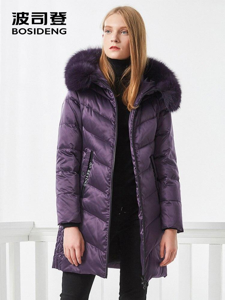 BOSIDENG donne giù cappotto di inverno giacca spessa verso il basso mid-lungo reale collo di pelliccia di spessore parka tessuto del ricamo oversize B70141046BWL