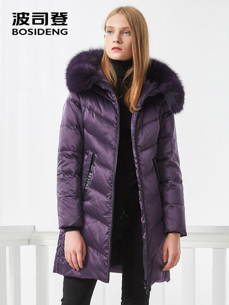 BOSIDENG femmes vers le bas manteau d'hiver épais duvet veste mi-longue réel col de fourrure épaisse parka broderie tissu oversize B70141046BWL