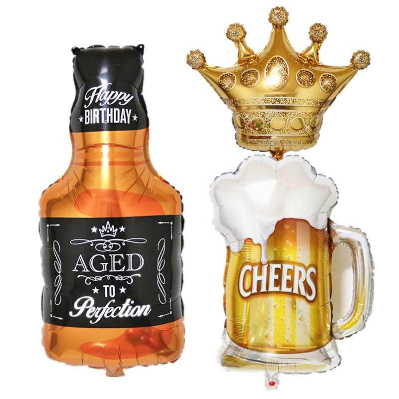 Large Gold Crown Whiskey Bottle beer cup Foil Balloon Bar Happy New Year Birthday Party Wedding  Celebration Decoration Love you
