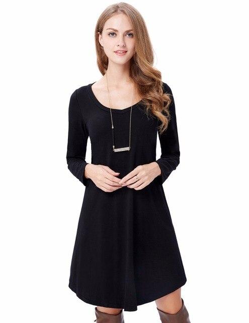 Sexy Women's Long Sleeve Tops 2017 Fashion V-Neck Casual Coffee Color Loose Long Sleeve V-Neck Irregular Wide Hem Cotton Dress