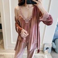 Ladies Winter Autumn Pajamas Set Velour Nightwear Sleepwear Long Sleeve Pyjama Set 3 Pieces V neck Homewear For Women