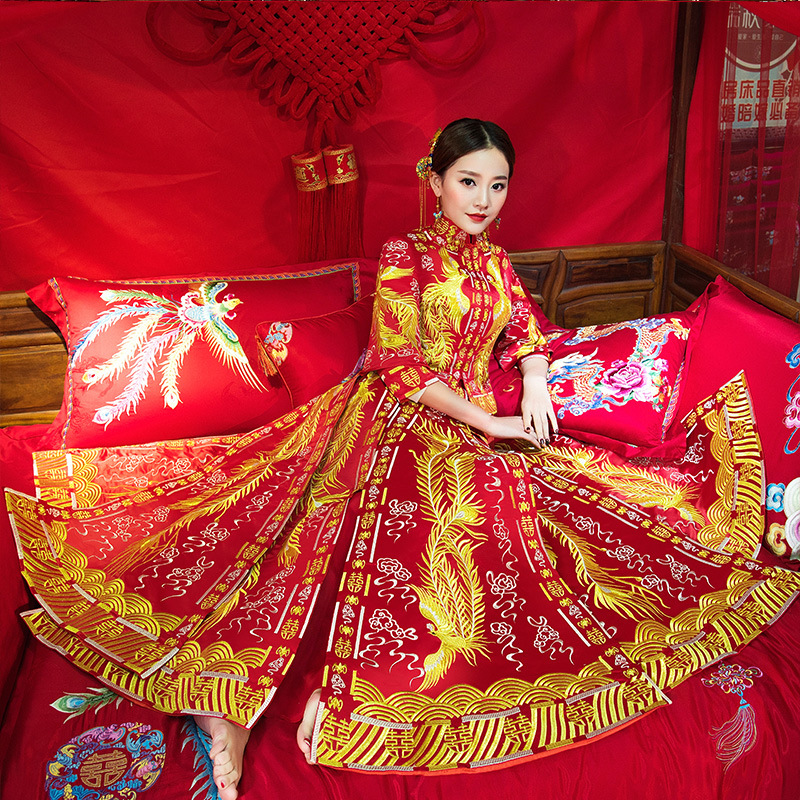 Luxury ancient Royal Red embroidery Chinese bride wedding dress Qipao Chinese Traditional Dress Women Oriental Qi Pao Size S-XXL 03 red gold bride wedding hair tiaras ancient chinese empress hat bride hair piece