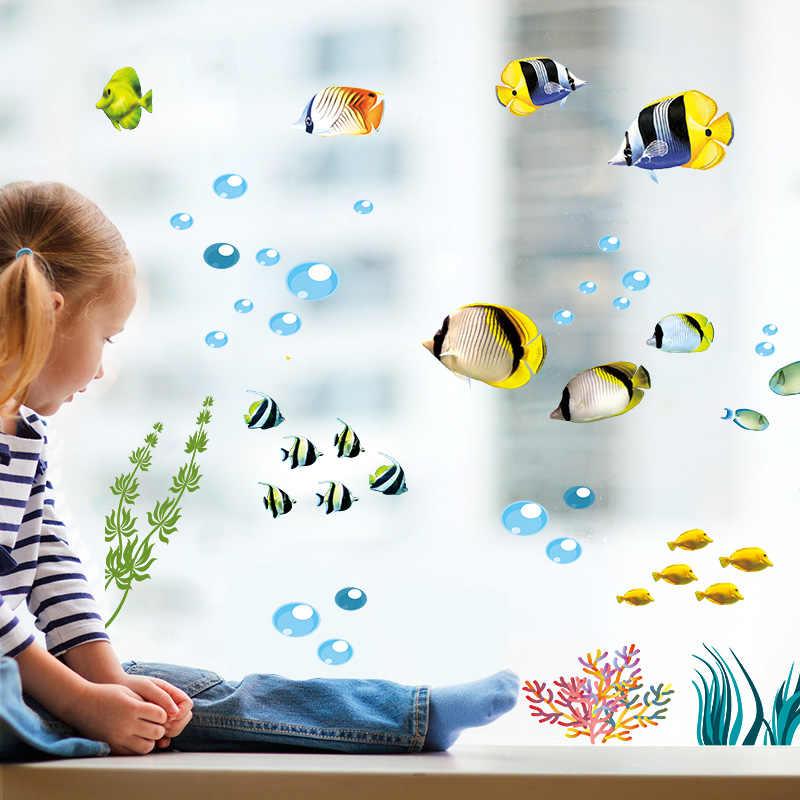 دولفين الأسماك حوض السمك المحيط ملصقات جدار للأطفال غرف الحمام المطبخ ديكور المنزل الكرتون الحيوانات الشارات البلاستيكية جدارية الفن