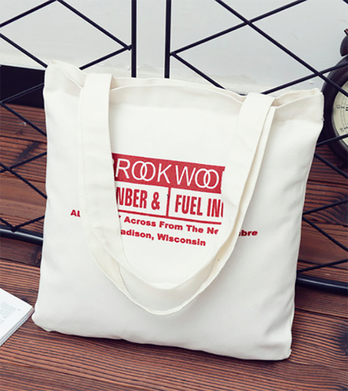 Ivory 100 pcs lot Customised One Color Logo Canvas Bag Shopper Bag Custom Washable Plain Tote