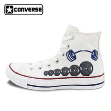 b804429d0be5 Men Women Converse All Star Boys Girls Shoes Custom Barbell Weight Lifting  Original Design Hand Painted Shoes Man Woman Sneakers