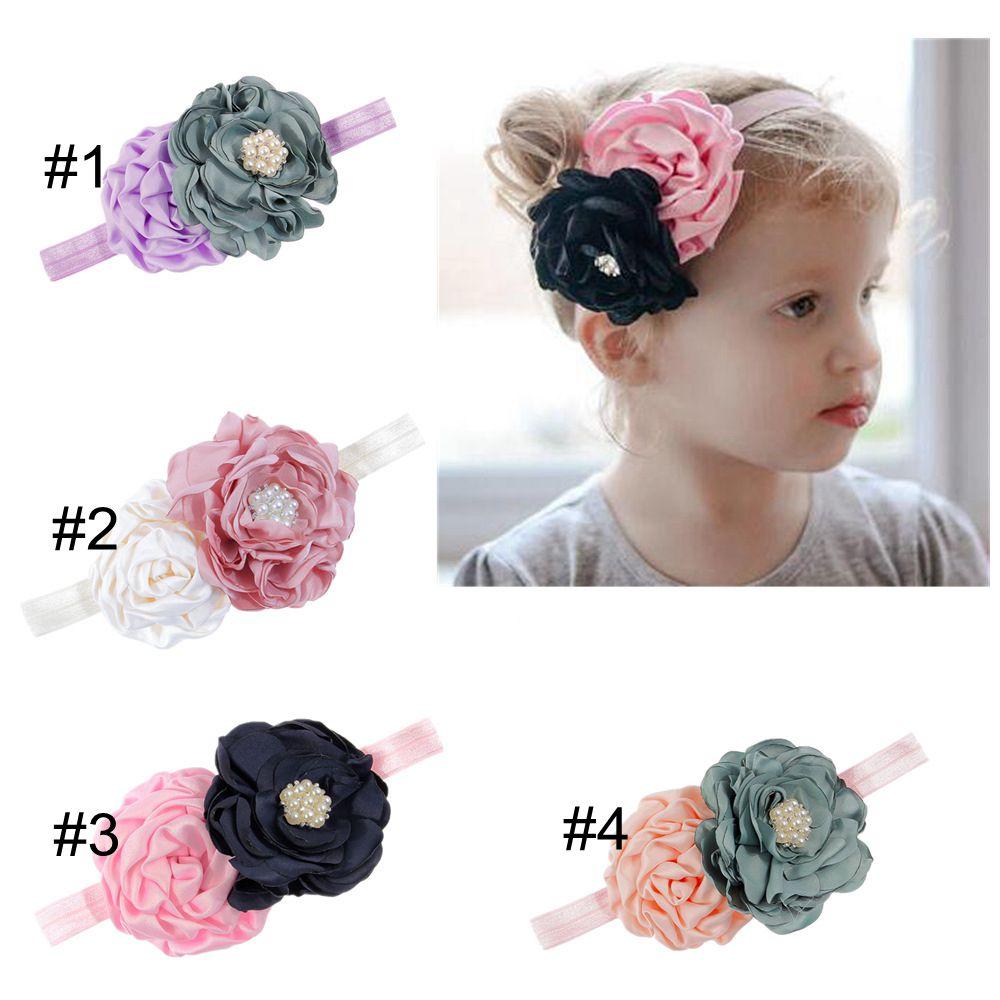 Yundfly бутик, новинка, Детская повязка на голову с цветами из розовой ткани, цветочный головной убор для девочек, аксессуары