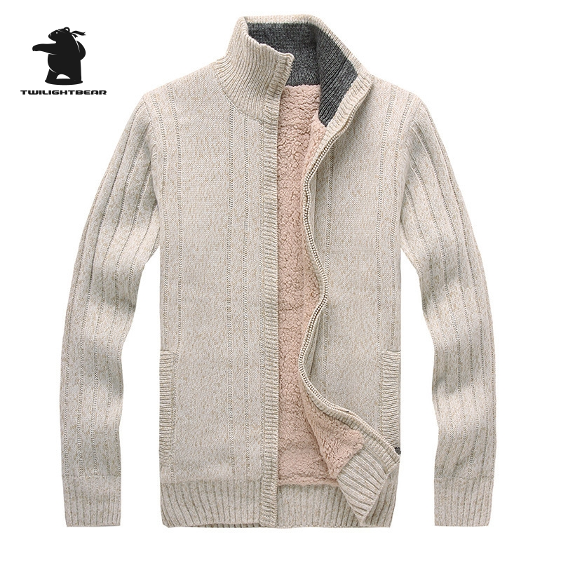 Winter New Mens Sweater Designer Fashion Jacquard Stand Collar Plus Size Fleece Thick Sweatercoat Men M~2XL CF9105