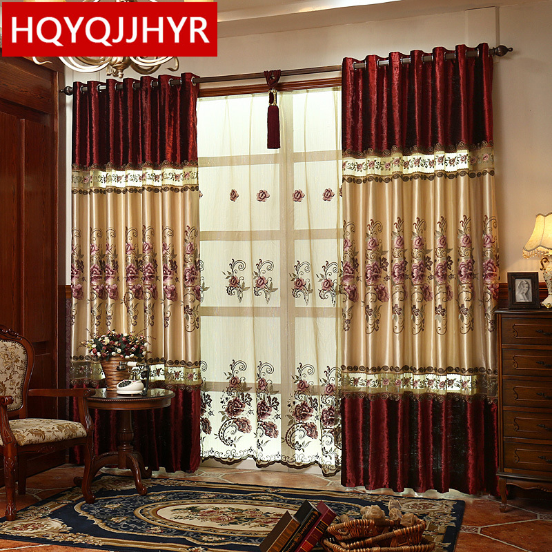 European luxury velvet stitching embroidered blackout curtains for living room window curtain kitchen bedroom window curtains