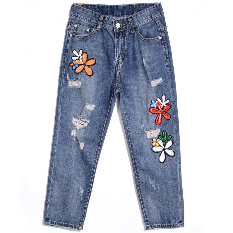 ФОТО Floral Embroidery Jeans Female Spring Summer Harem Denim Pants Jeans Women Fashion Light Blue Ripped Jeans E573