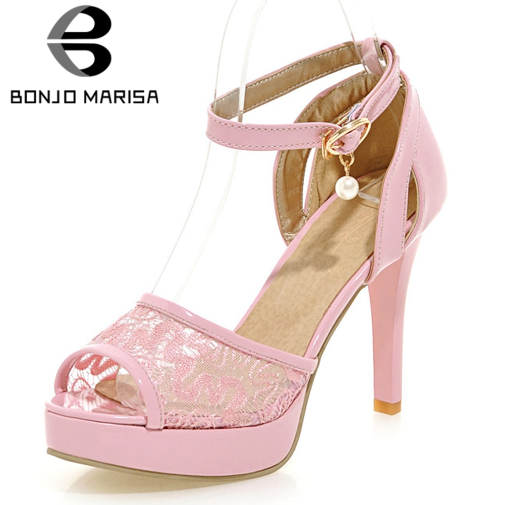 BONJOMARISA 2019 Plus Size 31 46 Summer Sexy Sandals Women Lace Cover 11cm Thin High Heels Party Sandals For Ladies Shoes Woman