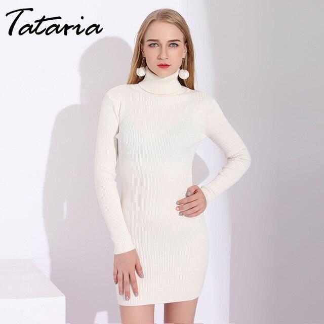 Sexy White Dress For Women Turtleneck Women Knitted Sweater Dress Ribbed Sweater  Dresses For Winter Slim White Mini Dresses ad62a3c15