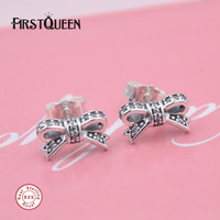 FirstQueen Sparkling 925 Sterling Silver Earrings Bow Earring Stud 2017 Christmas Gift Fine Jewelry