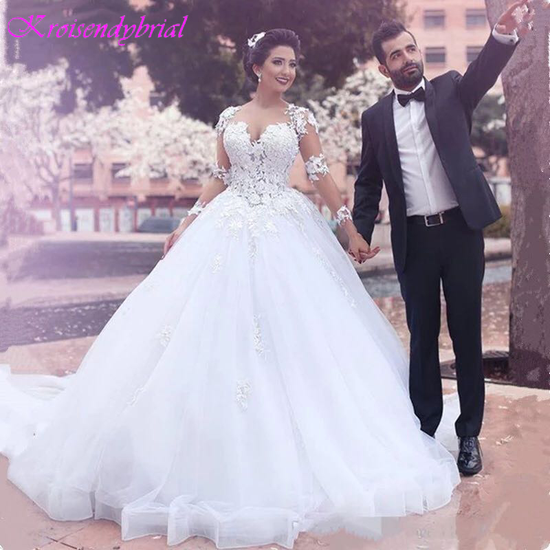 QFS069 Vestidos De Noiva Custom Made Ball Gown Wedding Dresses Long Sleeves Lace Cheap Sale Dresses