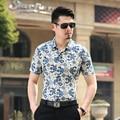 2016 лето последние мода цветы печатный мужчины с коротким рукавом хлопчатобумажную рубашку