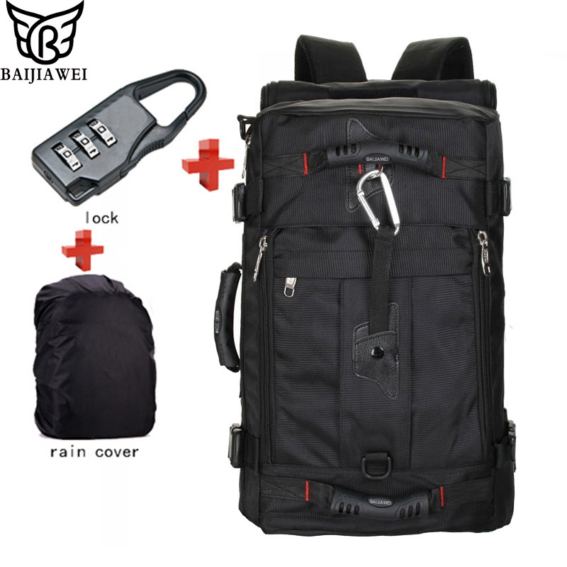 BAIJIAWEI Hot Sale Lock+ Cover + Bag Laptop Backpack Men Mochila Masculina Man's Backpacks Men's Luggage & Travel Bags
