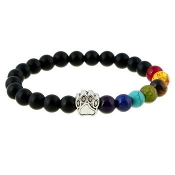 Natural Stone Bead Yoga Bracelet Men Women Dog Paw Elastic Rope Bead Bracelet 7 Chakra Healing Balance Rainbow Bracelet Jewelry
