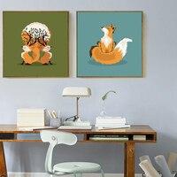 Bella Fox Tema murales Morden Nordic Arte della Tela di Canapa Pittura di Arte Della Parete Immagine Senza Fream per Camera Da Letto, Bambini Sala Da Pranzo Room decor