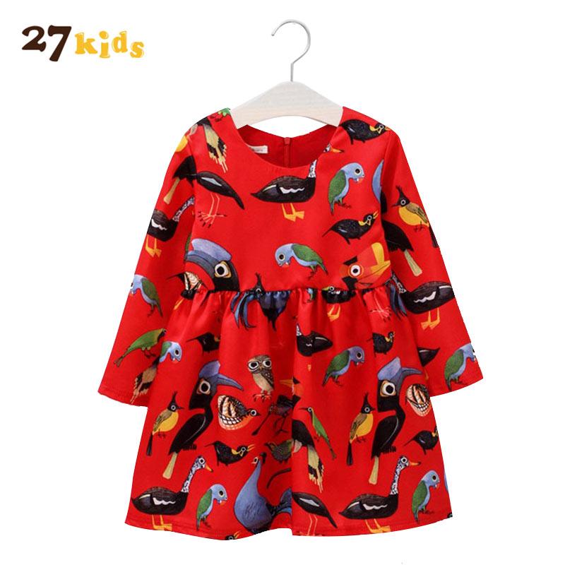 27 дети Bbay Обувь для девочек Одежда для девочек с цветочным узором платье принцессы с рисунком осенние детские красный Vestidoes детская одежда п...