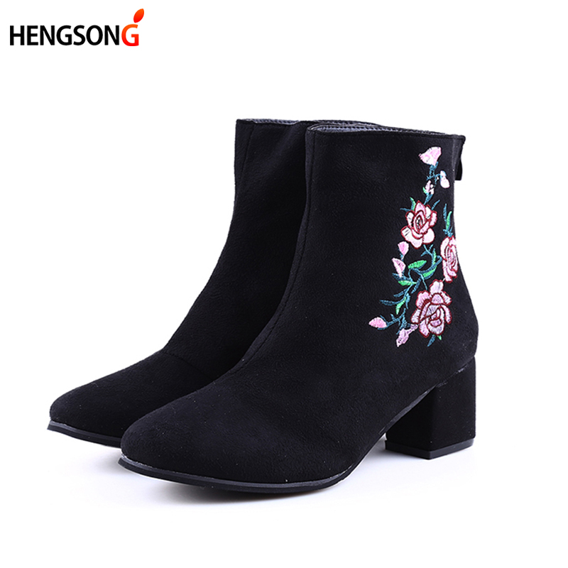 HENGSONG Autumn Winter Women Boots Flowers Embroidery Boots Zip Thick High Heel Round Toe Mid-Calf Boot Ladies Shoe Size 34-44 2017 autumn winter new womens leather ankle boots ladies black short boots round toe high block heel zip up booties size