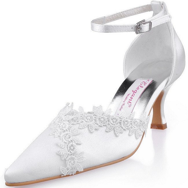 A1049 White women wedding shoes Pointed Toe Appliques Ankle Strap high Heels Satin lady bride prom evening party pumps