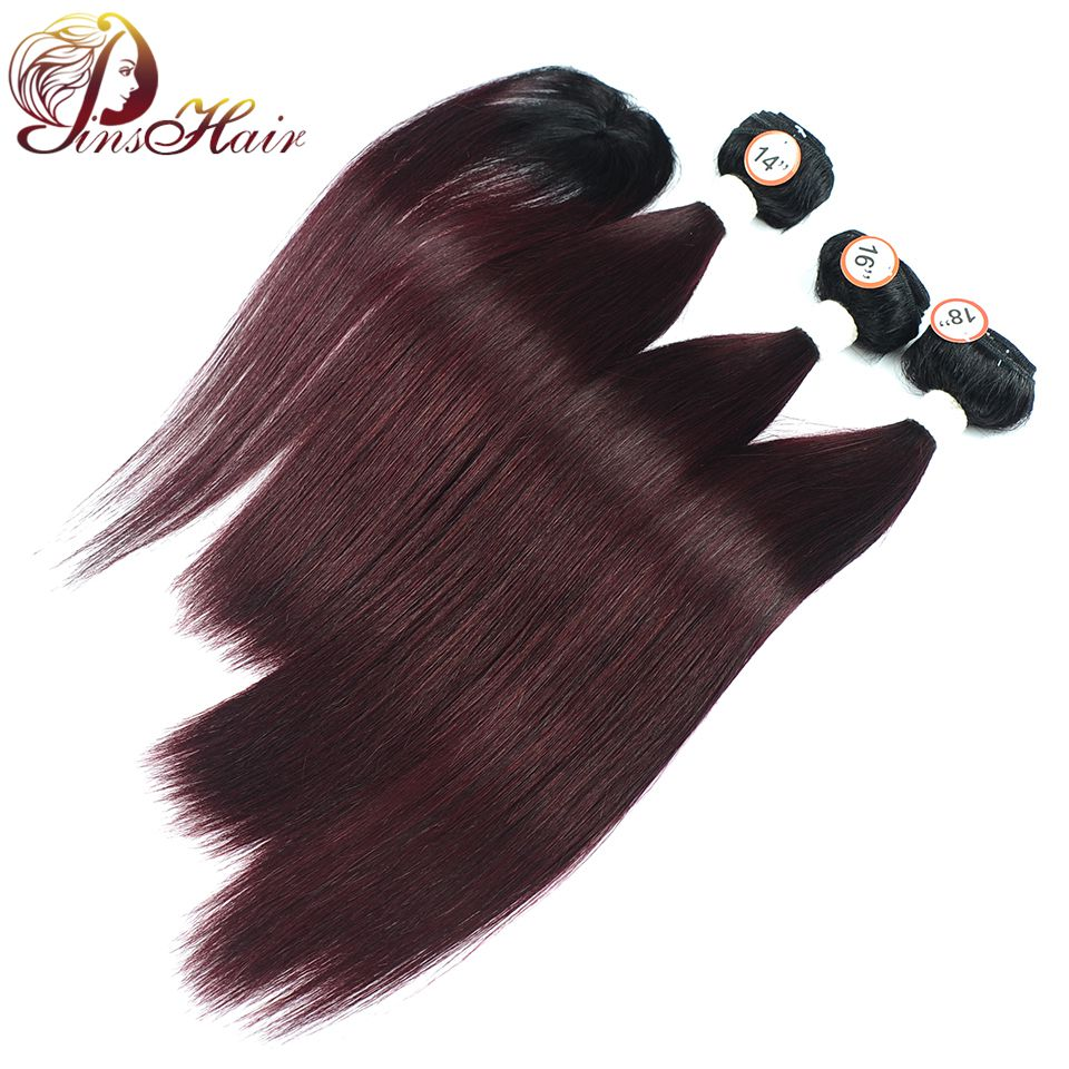 Pinshair Straight Peruvian Hair Bundles With Closure Black Roots Ombre 1B Burgundy 4 Pcs/Lot Non Remy Human Hair Bundles No Shed