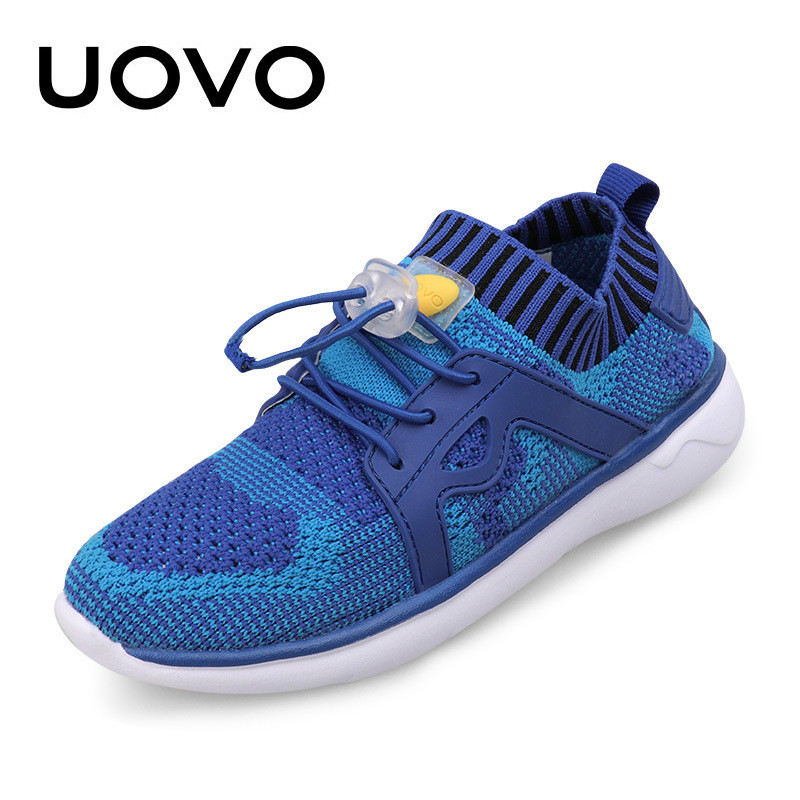 UOVO Kids Summer Shoes Breathable Mesh Air Cloth Boys Girls Casual Sneakers Blue Purple Shoes Soft Sole Light Weight Size 27-37 uovo fly knit kids shoes spring shoes for boys girls breathable children sneakers fashion sport trainers girls shoes size 27 37