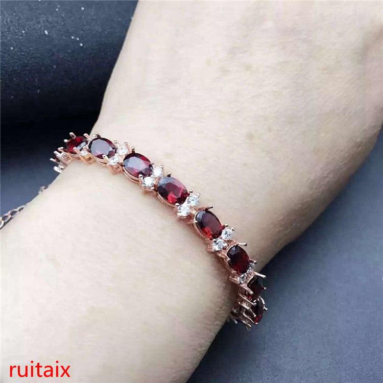KJJEAXCMY fine jewelry 925 pure silver inlaid natural Crystal Garnet Bracelet with female jewelry inlaid with gold jewelry. цена