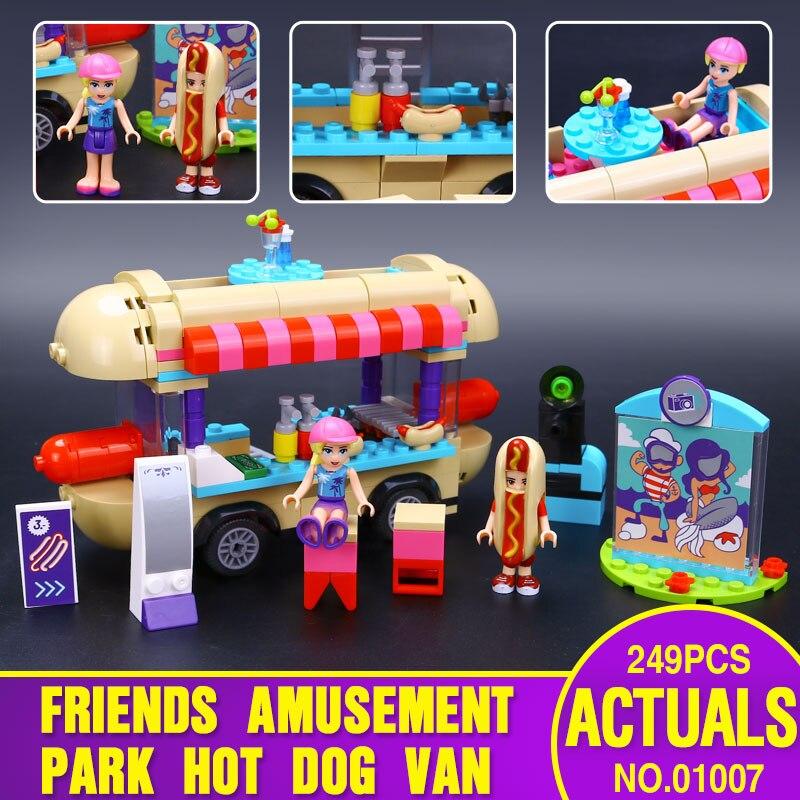 2016 Lepin 01007 Girl Friend <font><b>Amusement</b></font> <font><b>Park</b></font> <font><b>Hot</b></font> <font><b>Dog</b></font> <font><b>Van</b></font> Building Blocks set Kids Bricks Gift Toys Compatible with Legoed 41129