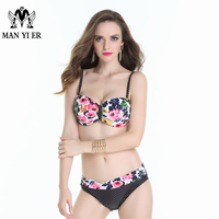 MYE 2017 New arrival Plus size exotic print two pieces bikini Floral big chest triangle trend sexy low waist Spots bottom