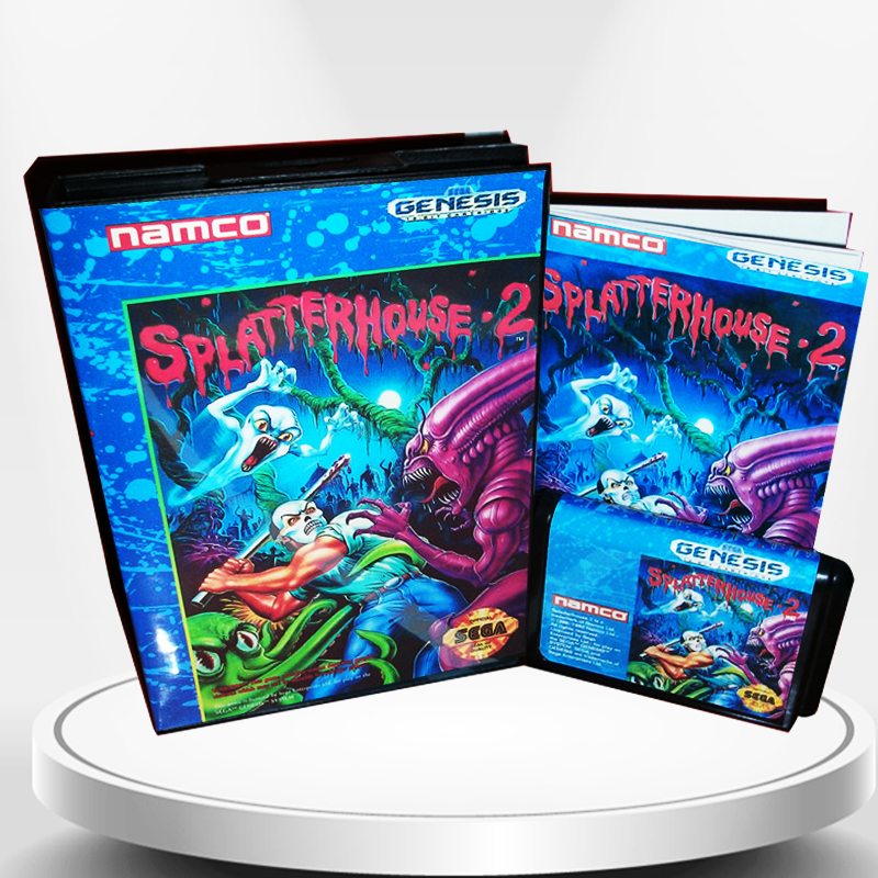 Splatter House 2 US Cover with Box and Manual for MD MegaDrive Genesis Video Game Console 16 bit MD card