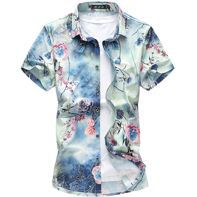 89dc39bb 20 Colors New Fashion Short Sleeve Silk Hawaiian Shirt Men Summer Casual  Floral Shirts Men Plus