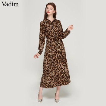 Leopard Print Ankle Length Bow Tie Long Sleeve Dress