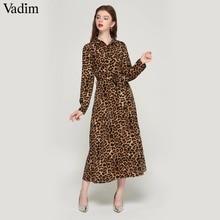 Vadim feminino leopardo imprimir tornozelo comprimento vestido laço faixas de manga longa retro senhoras casuais vestidos chiques qa472