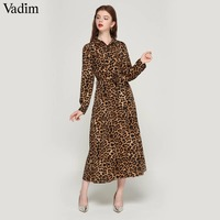 Vadim women leopard print ankle length dress bow tie sashes long sleeve retro ladies casual chic