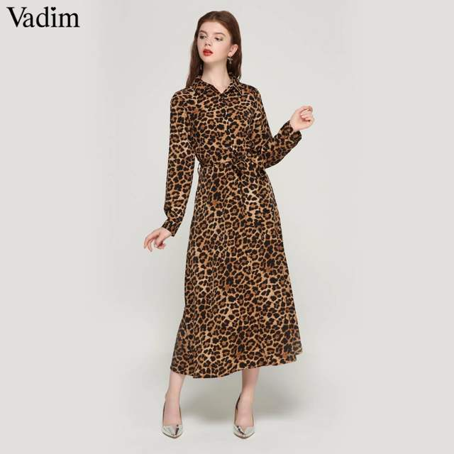 placeholder Vadim women leopard print ankle length dress bow tie sashes  long sleeve retro ladies casual chic b5892aca544f