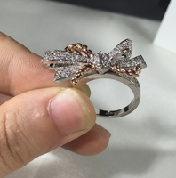Brand Jewelry For Women Bowknot Rings Rose Gold Rings Wedding Jewelry Engagement Bowknot Ring Luxury Wholesale