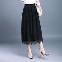 2017 ربيع الخريف مزدوجة الجانبين ارتداء عالية الخصر منتصف العجل تنورة المرأة الأزياء زهرة مطوي تنورة ماكسي تنورة