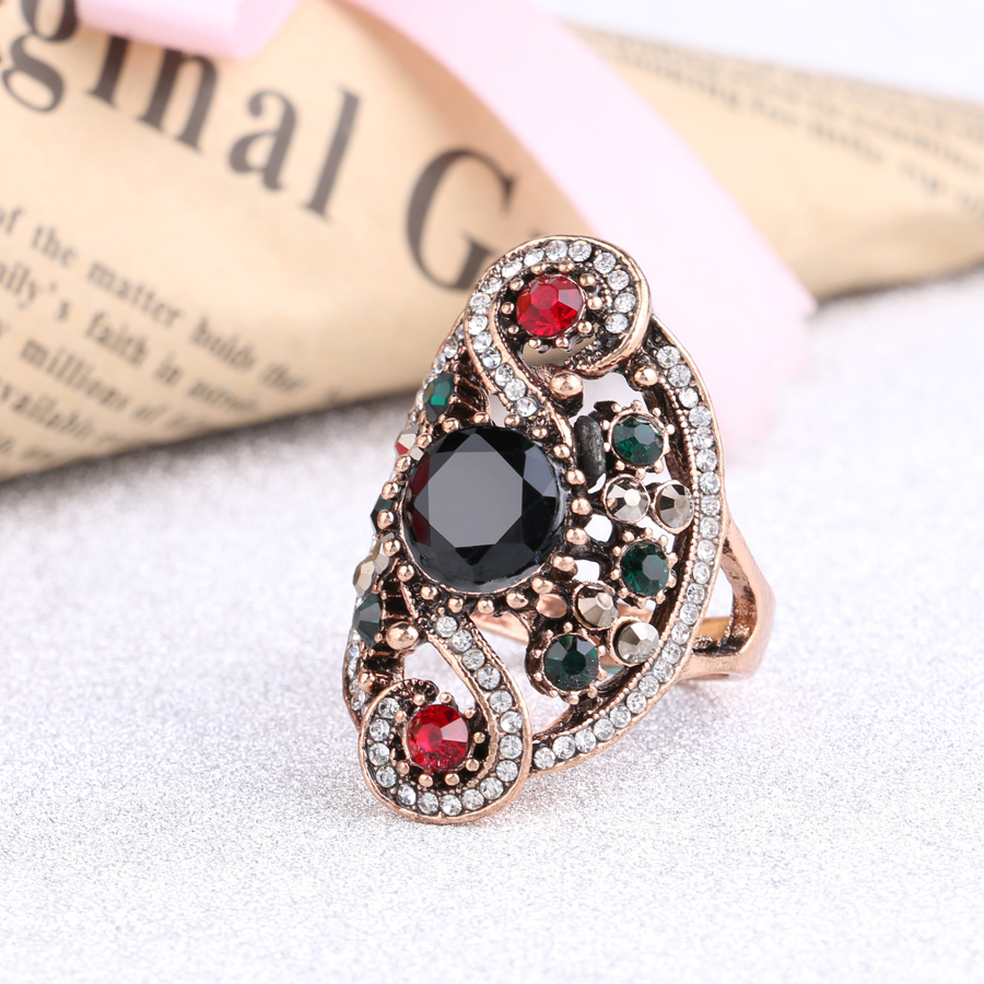 Hot Fashion Turkish Jewelry Dubai Color Gold Ring Red Resin Wedding