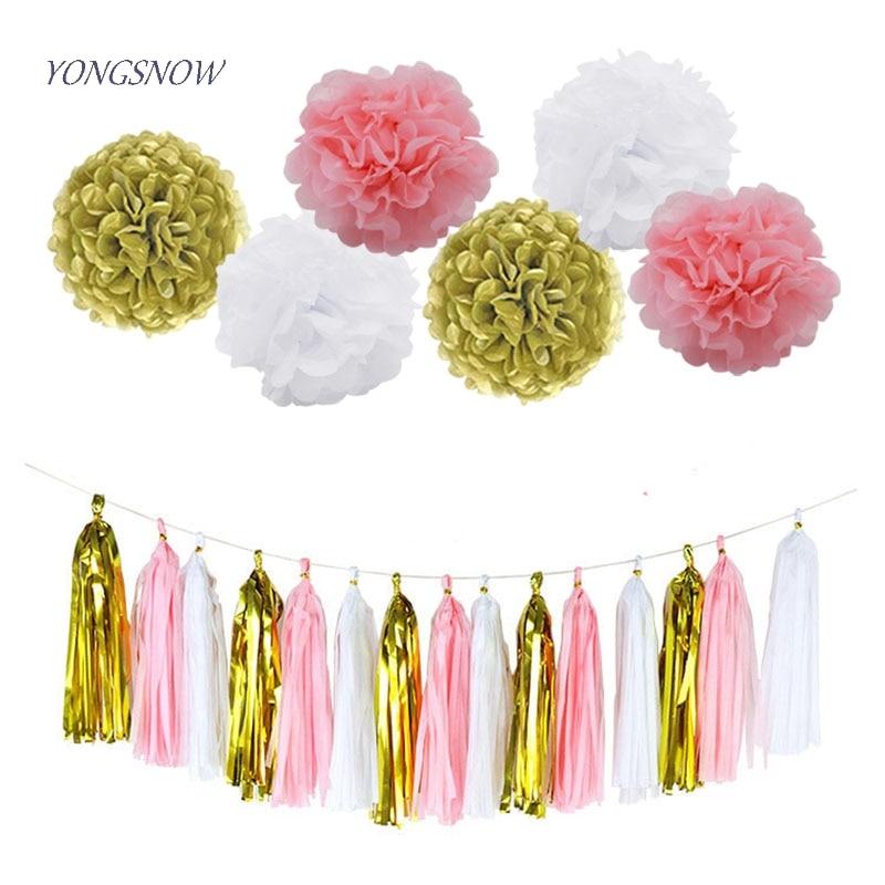 Decorative Pom Poms Flowers DIY Tissue Paper Tassel Garland Bunting Wedding Birthday Party Baby Shower New Year Decoration