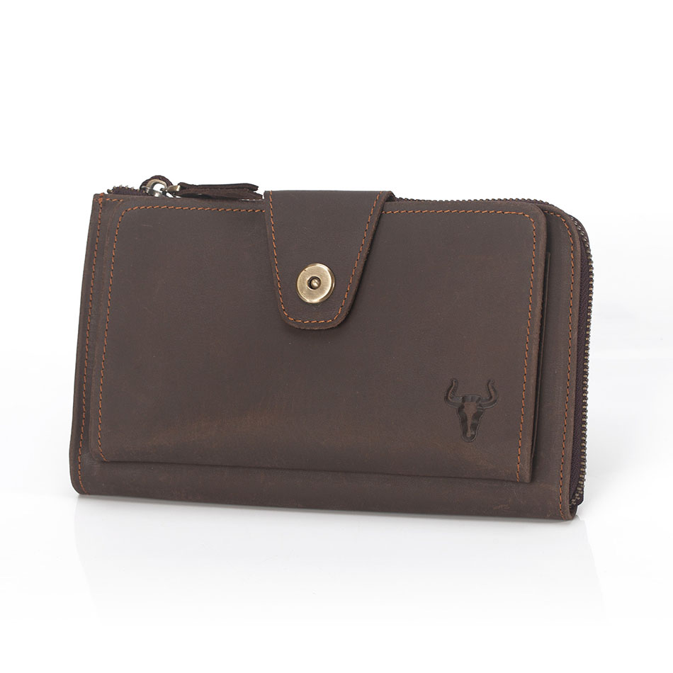 ФОТО Men'S Crazy Horse Leather Handbags Retro Hasp Clutch Bag Male Credit Card Holder Wallet Men Vintage Brown Men Clutch Bags 227