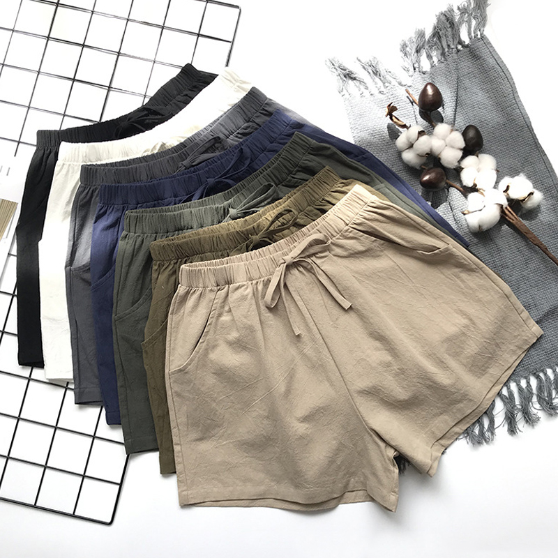 2020 Cotton Linen Shorts Women Summer Shorts Trousers Feminino Women's High Elastic Wasit Home Loose Casual Shorts With Pockets 2