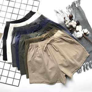 Image 2 - 2020 Cotton Linen Shorts Women Summer Shorts Trousers Feminino Womens High Elastic Wasit Home Loose Casual Shorts With Pockets