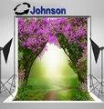 Волшебный лес дорога. Весенний пейзаж лиловые деревья цветок фон виниловая ткань компьютерная печать стены фото фон