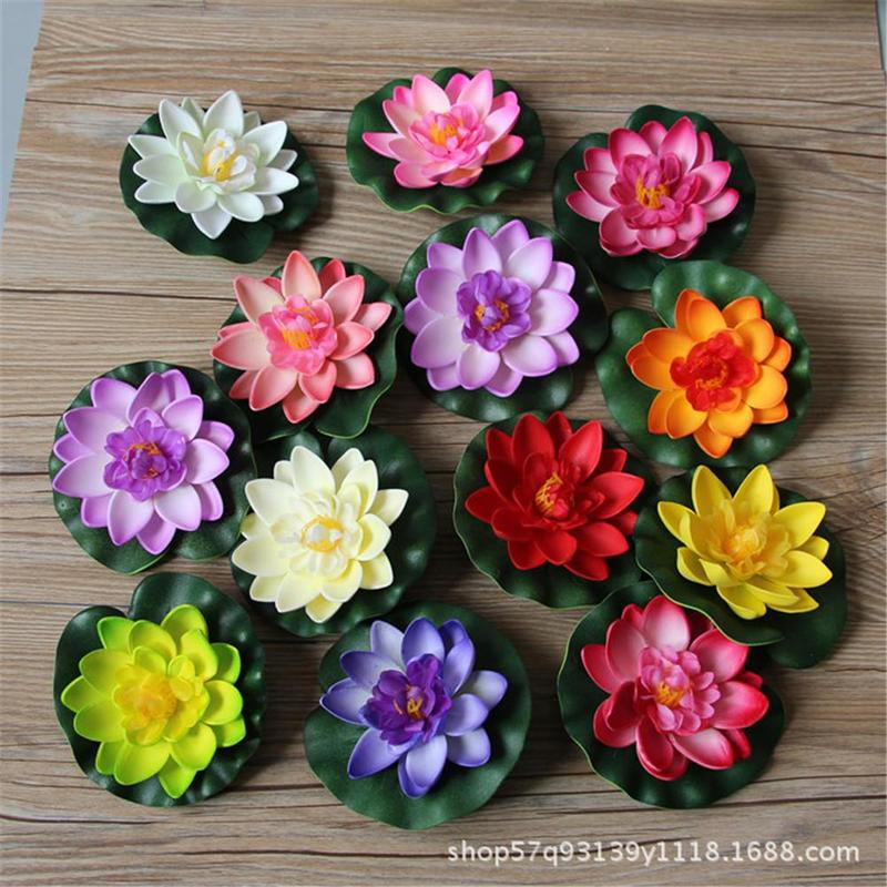 Artificial & Dried Flowers Well-Educated 1pc Artificial Lotus Water Lily Floating Flower Pond Tank Plant Leaf Ornament Home Wedding Garden Pond Pool Decoration Vwf9236
